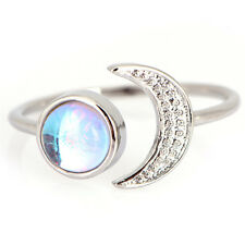 White Fire Opal Sun Moon Ring Silver Plated Wedding Engagement Open Ring Lady 3C