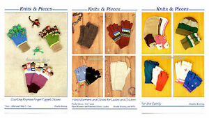 Knits & Pieces hats hand warmers gloves or Counting Rhymes knitting patterns