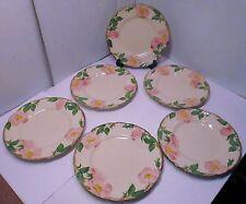 "Six Franciscan Desert Rose Calif  8"" salad plates brown stamps 40's 50's"
