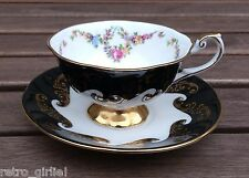 Vintage Queens Emperor Black & Gold Floral Footed Cabinet Tea Cup & Saucer