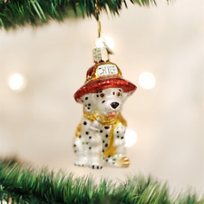 OWC DALMATION PUP FIREMAN MASCOT PUPPY GLASS CHRISTMAS ORNAMENT 12208