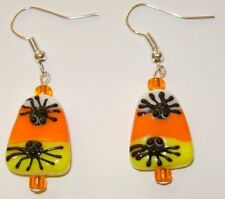 Halloween Lampwork Earrings-Candy Corn/Spiders-Orange/Yello w-Handcrafted-804
