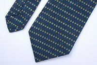 Brioni Men's Silk Neck Tie Hand Made Italy Blue Yellow Black Geometric Pattern