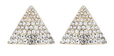 Clip On Earrings - gold stud triangle earring with clear crystals - Binta