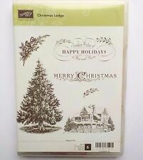 Stampin Up Christmas Lodge Set Pine Tree Winter House Scene Rubber Stamps #1B