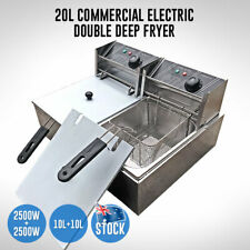 NEW Electric Deep Fryer 20L Commercial Bench Top Double Stainless Steel AU STOCK