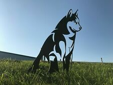 Rusty Siberian Husky Dog Silhouette Metal Garden Art