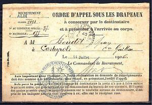 Carte ORDRE D'APPEL SOUS LES DRAPEAUX. Castres, 3°Régiment d'Artillerie 1906