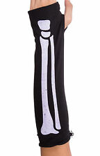 FINGERLESS SKELETON GLOVES HALLOWEEN FANCY DRESS BLACK LADIES ACCESSORY BONES