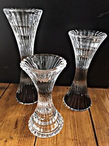 Vintage Glass Candle Holders Trio Beautifully Twisted Ribbed Design Unusual