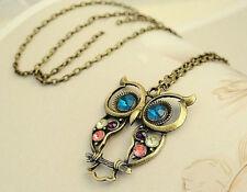 New Women Vintage Rhinestone OWL Pendant Long Chain Necklace Jewellery GiftG
