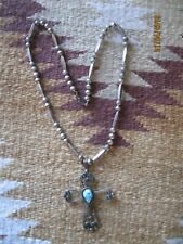 Ladies Turquoise & Sterling Silver James Little Navajo Pendant Cross 1979 ~*~*
