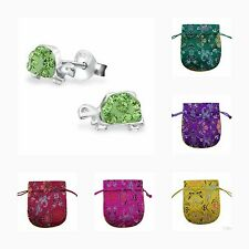 Children's Girls Turtle Crystal Stud Earrings, Green, Sterling Silver,  + Pouch