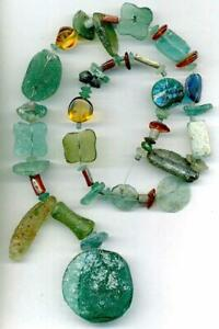 """Roman Ancient Glass Tube Disk Butterfly Beads 4-33mm~2,000 Years Old~ 19"""""""