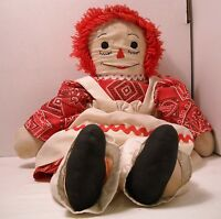 """Raggedy Ann - Vintage Unique Hand Made 1960s - Nice Detail - Approx 20"""" (O98)"""