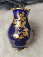Jlmenau Graf Von Henneberg Echt Kobalt Cobalt Blue Porcelain Vase Gold Flowers