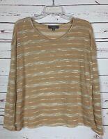 Umgee USA Boutique Women's M Medium Tan Striped Cute Light Fall Sweater Top