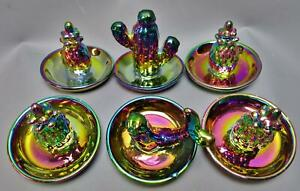 Modern Carnival Glass RING HOLDERS Lot of Six (6) Imported From China 7881