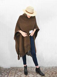Llama Wool Knitted Shawl Poncho Unisex Argentinian Ruana Handknitted Poncho