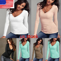US Womens Ladies Cotton Soft Tops Bodycon V Neck Long Sleeve Basic Shirt Blouse