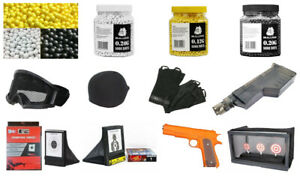Airsoft Target Goggles Gloves Loader Pellets 6mm BB Gun Pistol Full accessories