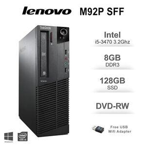 Lenovo ThinkCentre M92p SFF Desktop PC i5-3470 3.20GHz 8GB DDR3 128GB SSD Win10