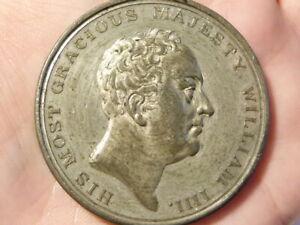 1830 King William IV Coronation Throne White Metal Medal #Q47