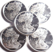 Lot of 5 coins  1/4 oz American Eagle  Round .999 Silver