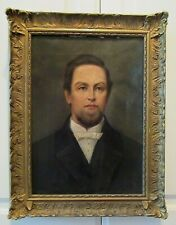 Antique Victorian EDWARDIAN American GENTLEMAN Oil Portrait GOLD Frame c1900s