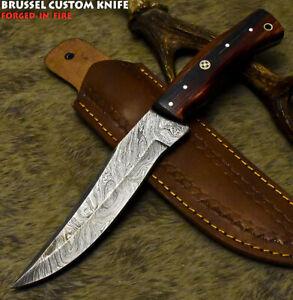 Brussel Custom Handmade Damascus Steel Hard Wood Art Full Tang Hunting Knife