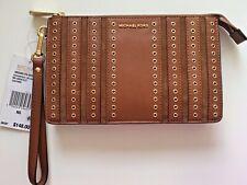 NWT Michael Kors Caramel Brooklyn Grommet Medium Wristlet Clutch Bag Purse $148