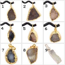 Christmas Hot Sale Natural Window Crystal Druzy Quartz Gold Plated Girls Pendant