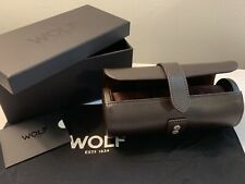 WOLF Blake 305606 Travel Triple Case Black Leather brown Lining Watch Roll