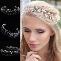 Damen Mode Hochzeit Kristall Strass Haarreif Perlen Stirnband Braut Haarschmuck