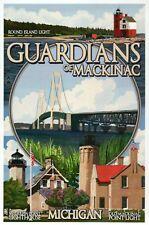 Michigan Lighthouses Guardians of Mackinac Round Island etc MI - Modern Postcard