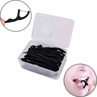50 Pcs Bamboo Charcoal Dental Floss Teeth Stick Toothpick Flosser Interdental