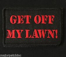 GET OFF MY LAWN USA ARMY MORALE ISAF BLACK OPS RED VELCRO® BRAND BADGE PATCH