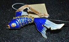 CLOISONNE PRECIOUS AQUARIUM GOLDFISH Articulated Enamel Ornament Cobalt