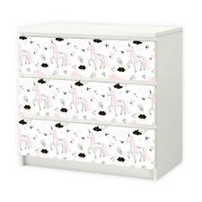 nikima - 018 Möbelfolie für IKEA MALM - Einhorn - 3 Schubladen Aufkleber Sticker