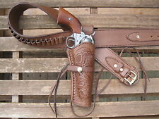 "Gun Belt Combo - .45 Caliber - Tooled Holster -  Brown -  Leather - 34"" to 52"""