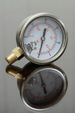 "New PRM -30 to 0 HG Vacuum Gauge 2.5"" SS Case 1⁄4"" NPT Brass Bottom"