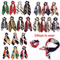 Boho Floral Print Scrunchies Satin Ribbon Elastic Bow Scarf Ponytail Hair Ropes
