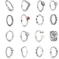 Disney 925 Sterling Silver Rings Princess Wishbon Daisy Crown Ring Pandora Gift