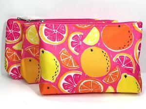 3pc Clinique Makeup Bags Lemon, Orange, Pink Grapefruit (lightly padded)