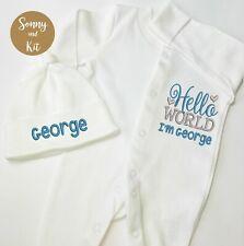 Personalised Baby grow + Hat Set, Sleepsuit, Embroidered Boy Custom Gift Newborn