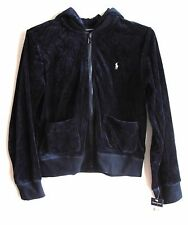 NEW Ralph Lauren Hoodie Girls M 8 10 Navy Blue Velour Jacket Velvet Zip Front