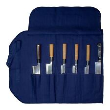 "Japanese Canvas Chef Knife Pocket Carry Roll (6 Slots 19"" Long) plus 2pc Hats"
