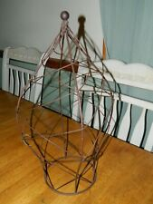 Metal RUSTIC Wire Cage Decor FAUX PLANT HOLDER/ CANDLE/ LIGHTING 18.5 TALL