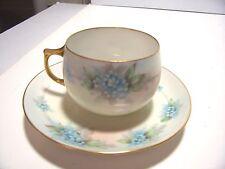 Vintage Porcelain German Bavaria J & C Tea Cup and Saucer Blue Floral Pattern