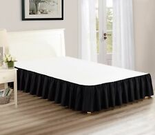 """Chezmoi Collection Solid Black Ruffled 15"""" Drop Bed skirt Dust Ruffle, King"""